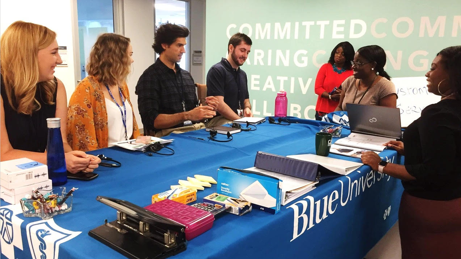 Blue Cross Blue Shield NC interns around a table