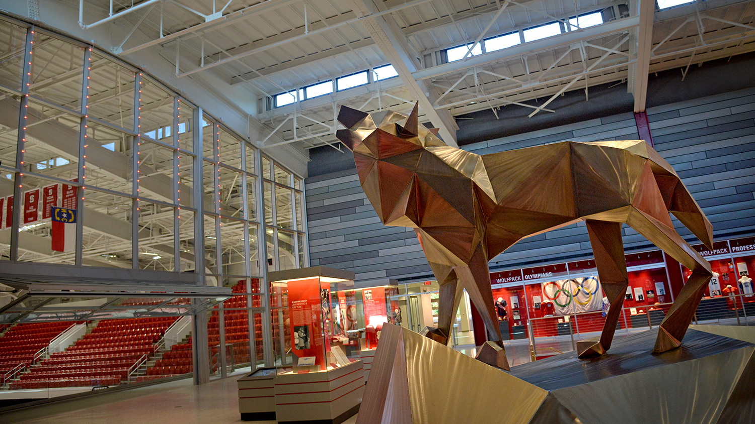 Wolf Sculpture at Reynolds Coliseum; photo by Roger Winstead.