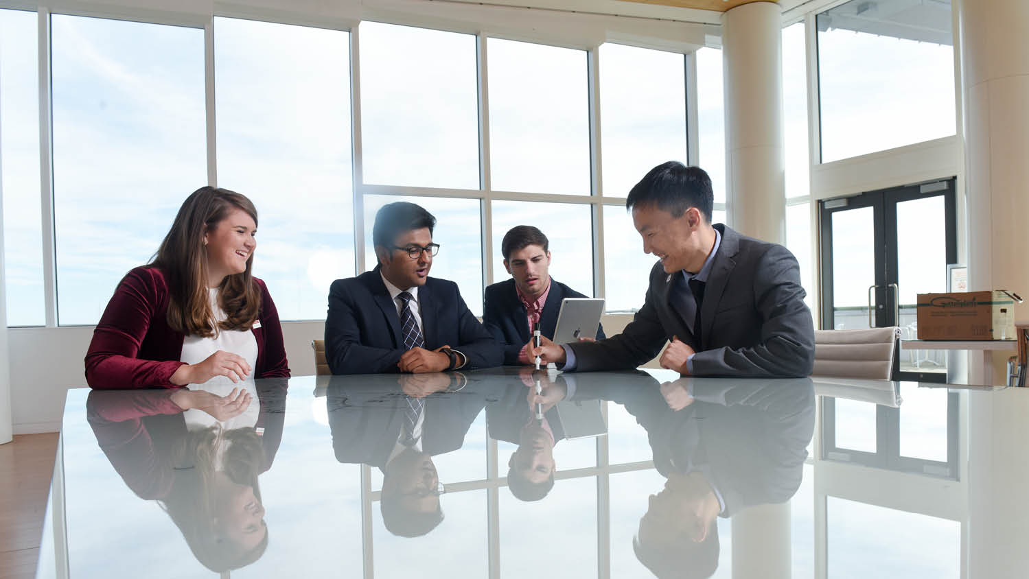 NC State MBA Students collaborating on a supply chain project